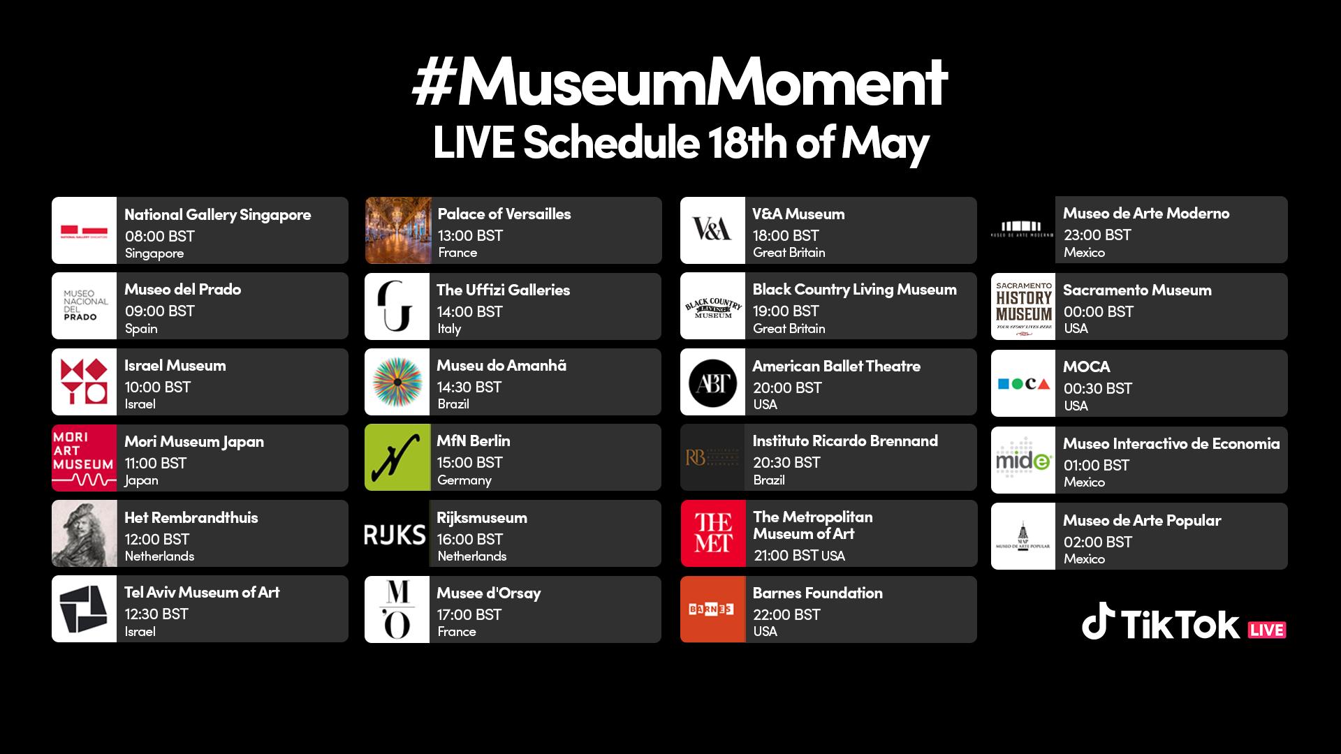MuseumMoment: TikTok hosts its first-ever global LIVE museum marathon |  TikTok Newsroom