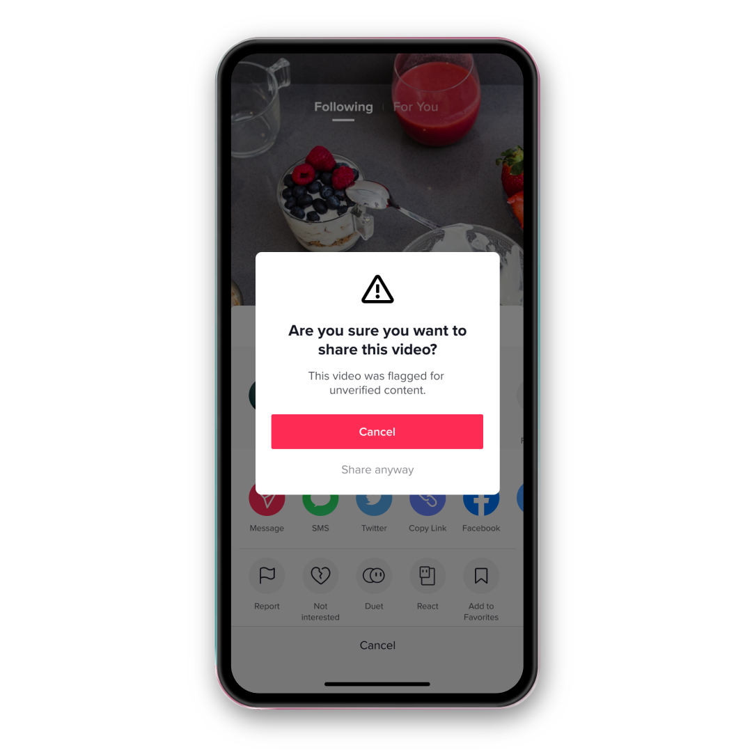 TikTok Know the Facts mock-up on a phone screen, asking the user if they are sure they want to share an unverified video.